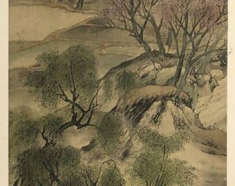 "1909, Japanese antique woodblock print, Yosa Buson, ""柳渓帰牧図""."