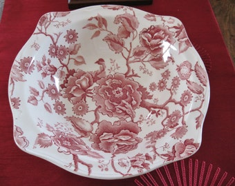 English Chippendale, Johnson Brothers, 2 Square Serving bowls available, Pink/Red Transfer Ware, Rose Floral Decor