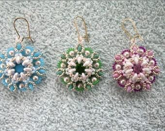 "Beading4perfectionists: ""Fleur de Dentelle"" earrings  beading pattern tutorial PDF file"