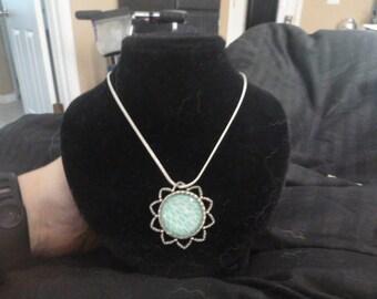 Green Lotus Cabochon Necklace