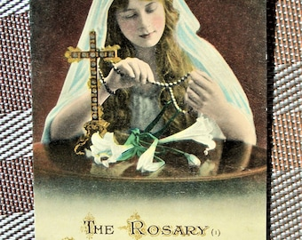 Vtg Postcard of English Girl - Praying the Rosary, #1