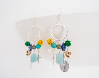 Dream Catcher Chandelier Earrings, Amazonite, Lapislazuli, Turquoise, Labradorite, Mother of Pearl, Miraculous Medaille, Skull, Rose, Silver