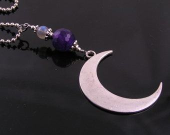 Crescent Moon Necklace with Amethyst and Labradorite, Moon Jewelry, Labradorite Necklace, Moon Necklace, Amethyst Jewelry, N1415