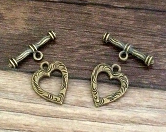 30 sets 19x16mm  Bronze Tone Stick Toggle Clasp Heart Clasp for Jewelry Making