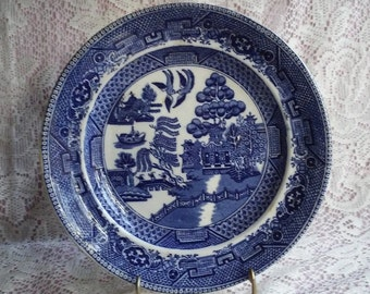 Antique Blue Willow Dinner Plate