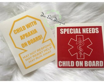 Emergency Alert Decal for Special Needs Child