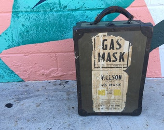 Vintage Gas Mask Carrying Case Trunk Box Storage Willson Products Inc Reading PA Pennsylvania Army Green Black Military Militaria Decor