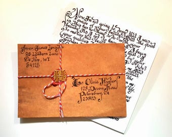 Custom Hand Written Copperplate Calligraphy Letter with Sealing Wax and vintage Brown or Vanilla Envelope for any occasions.