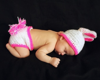 Crochet Pink & White Bunny Outfit
