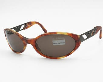 Emporio Armani wrapping sunglasses 544-S 144-S oval lenses dappled brown acetate, New Old Stock