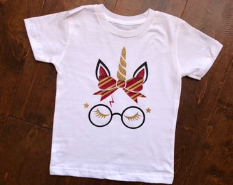 Kids/ adults wizard inspired Unicorn face. Wizard unicorn Tshirt.