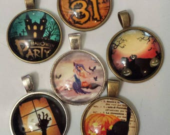 6 Halloween witch haunted house pumpkin jack-o'-lantern black cat    glass cabochon pendants  destash  clearance #p112