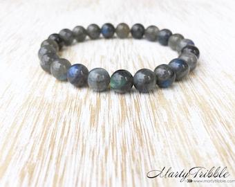 Blue Flash Labradorite Bracelet, Gray Stone Bracelet, Mens Bracelet, Unisex Jewelry, Gemstone Bracelet, Labradorite Jewelry, Healing Stones