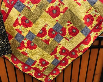 """Poppies in Bloom Quilt/Quilted Wall Hanging 45"""" x 57.5"""""""