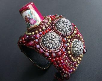 "FREE SHIPPING Bead Embroidery Cuff   ""seamstress""  Bracelet"