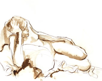 Pen and Ink Sepia Tone Female Nude Reclining on One Arm, Original Ink Wash Figure Drawing, Line Drawing, Earthtone Wall Art, Michelle Paine