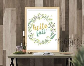 Hello Fall Floral Printable Artwork 8x10