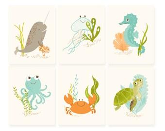 Ocean wall art for kids, nursery wall decor, bathroom wall art, narwhal, jellyfish, seahorse, octopus, crab, turtle, print set