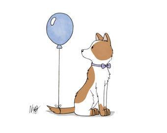 Geburtstag Pup - Illustration Druck Postkarte