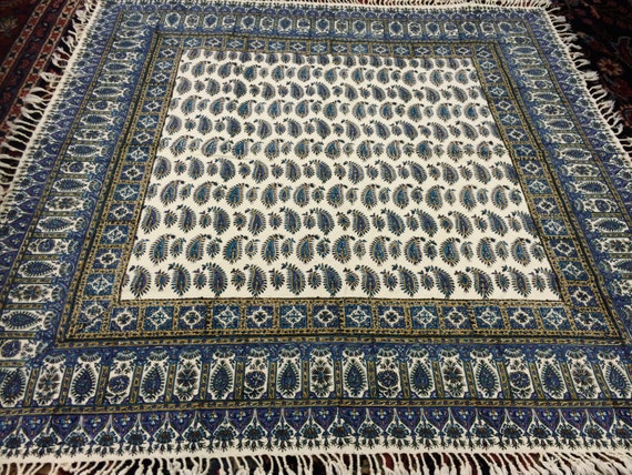 "Calico tablecloth 40"" inches blue paisley tapestry , wall decor, natural dyes with tassels"