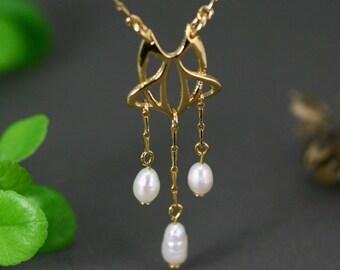 Art nouveau gold necklace, art nouveau necklace, art nouveau jewelry, gold and pearls necklace,  medieval wedding, celtic jewelry, delicate