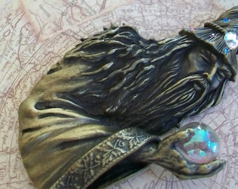 Wizard brooch, crystal ball, antiqued bronze, magical, mystical, gazing crystal, magician, old man, Merlin, figural