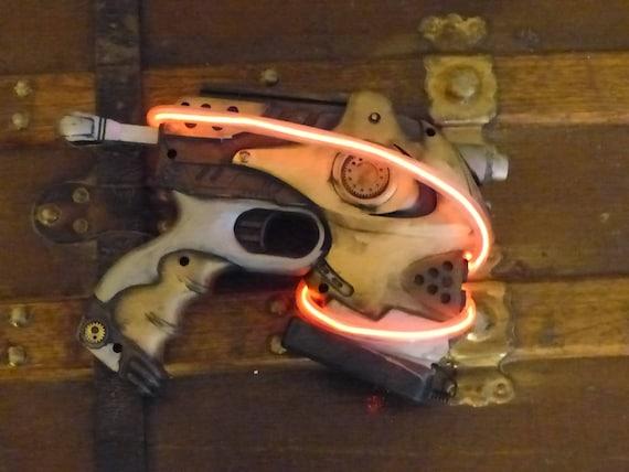Steampunk Red LED Light Gun Nerf Gun Working Gizmo Gun Ray Blaster Laser Gun  Dart Gun Working Toy Prop Costume Accessory Fallout