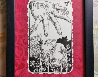 Five of wands, Queen,  Alice in wonderland, Tarot, original, black and white,  pen and ink,  framed,  illustration,  Dame Darcy