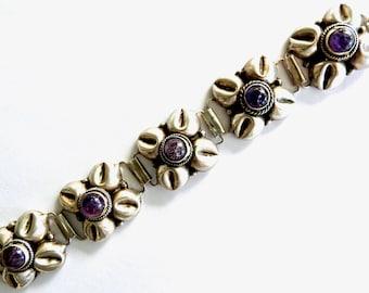 1940s Mexican Silver Amethyst Bracelet