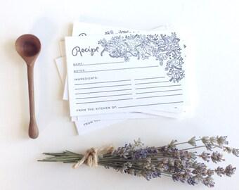 Floral Outline Recipe Cards - Letterpress Printed