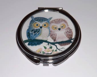 cabochon resin OWL Pocket mirror, blue and pink, tender and romantic little OWL couple