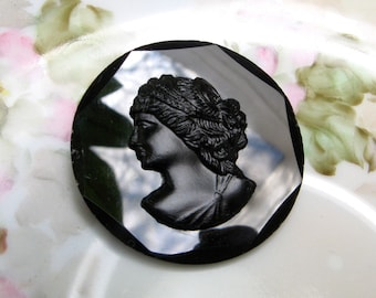 Glass Cameo Brooch Jet Glass Cameo French Jet Cameo Brooch Cameo Pin Black Glass Cameo Jewelry Mourning Jewelry Victorian Brooch As Is