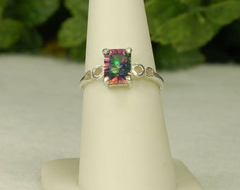 Mystic Topaz Ring, Size 7.5, Rainbow Mystic, Purple Green Fuchsia, Concave Cut, Superb Sparkle, Sterling Silver