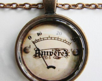 Vintage AMPERES Necklace -- Amperage Meter, Technology Art, for Electricians and Electrical Engineers, Friendship token, Measuring device