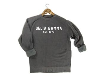 Delta Gamma Sweatshirt, Delta Gamma Sorority, Delta Gamma Est. 1873, DG Sorority, Big Little Reveal, Sorority Comfort Colors Sweatshirt