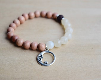 Energy Bracelet / calming bracelets, moon phases bracelet, moon cycle, good vibes only, self care, statement bracelets, moonstone, group 6
