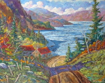 Down to the Lake Original Large Oil Painting created y Prankearts