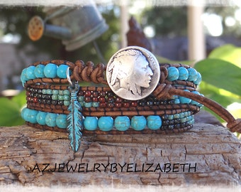 Turquoise Leather Wrap Bracelet* Triple Wrap Bracelet Southwestern Style With Turquoise Feather And Seed Beads* Native American Leather Wrap