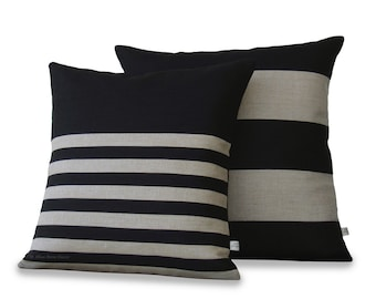 Striped Decorative Pillow Cover Set of 2 in Black and Natural Linen by JillianReneDecor - Modern Home - Stripe Pillows (20x20) and (18x18)