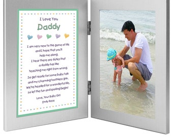 "New Dad Personalized Birthday or Father's Day Gift - Daddy Gift From Daughter ""Baby Girl"" - Double Frame with Poem - Add Photo (70-001)"