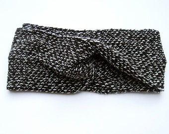 "knitted turban headband, hairband ""black & white"", light knitted headband in turban form, in black and white, boucle look"