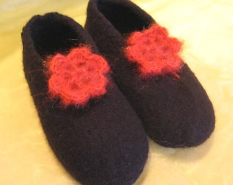 El Burro felt shoe felt shoes handmade Germany home shoes slippers House wool wool size 38 and 40 black black with red red blossom