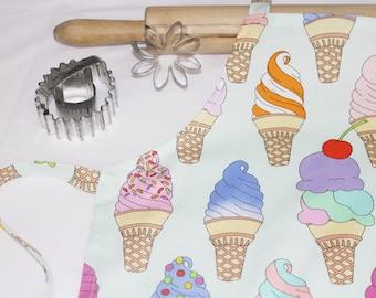 Ice Cream Cones on Mint Child Apron
