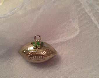 On Hold - Please do not purchase - Football Pendant 1963 Vintage Football Washington Green W Dated 1963