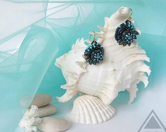 Beadwork earrings turquoise seed beads earrings blue bird earrings hummingbird earrings embroidery beading jewelry pearl cute round earrings