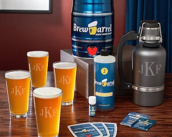 Brew Barrel Beer Making Kit with Monogram Glasses and Growler - Great Gifts for Beer Lovers on Birthdays - Holidays - Anniversaries