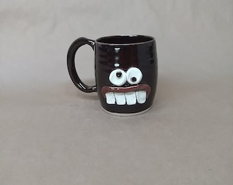 NEW Healthy Eater Mug. Confused Trendy Diet Food Coffee Cup. Large  Oz Big Green Tea Cup. Nelson Studio Pottery Ug Chug Face Mugs. Black