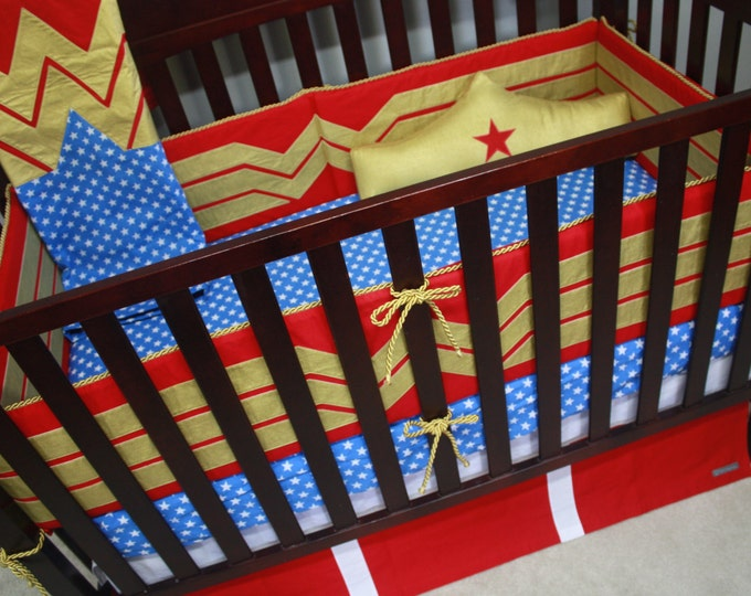 Superhero Baby Bedding--Wonder Woman--Custom Crib Bedding-MTO