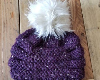 Chunky Knit Purple color Women's Hat With Large Handmade Faux Fur Pom Pom - Hand Knit Winter Hat Faux Pom Pom - Women's Knitted Hats