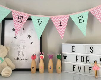 Pink and Mint Green Personalised Bunting
